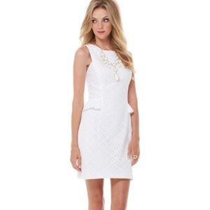 {Lilly Pulitzer} White Lace Abby Peplum Dress